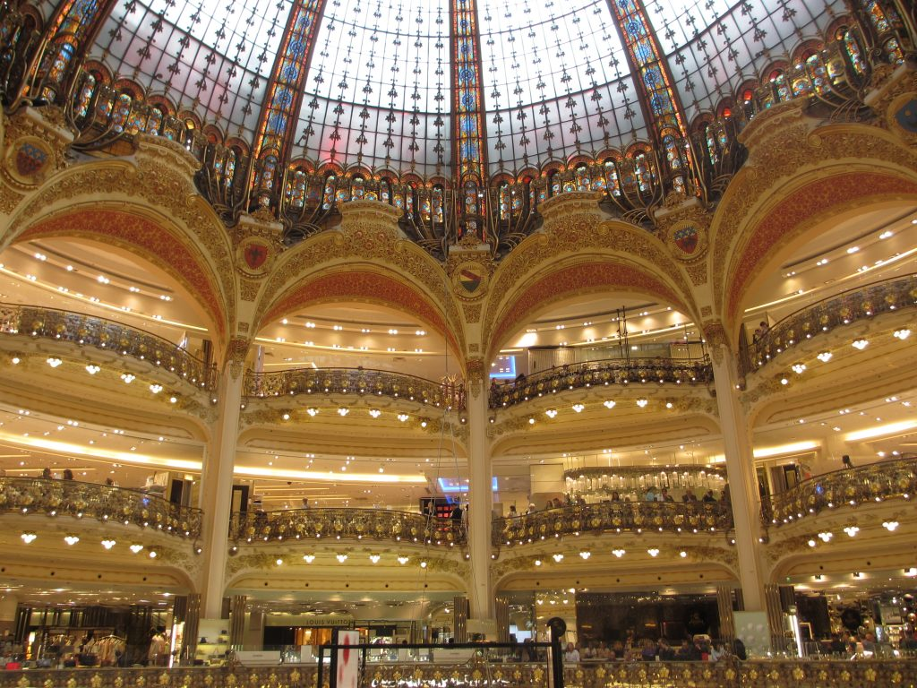 Interior of Galeries Lafayettes Paris France