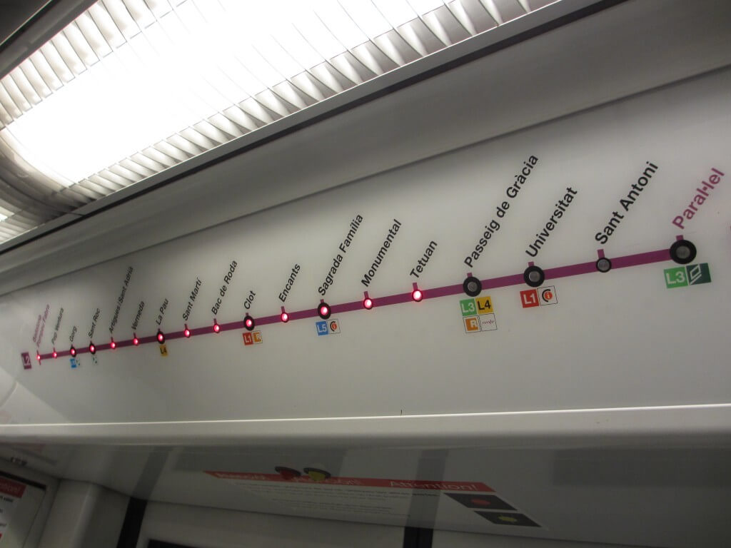 Route map on Barcelona metro train frugal first class travel How to use metro trains in Europe