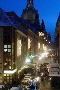 A Christmas market at night