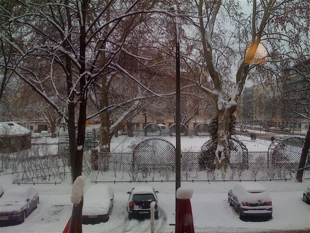 The view from our hotel window, New Year Day, Berlin