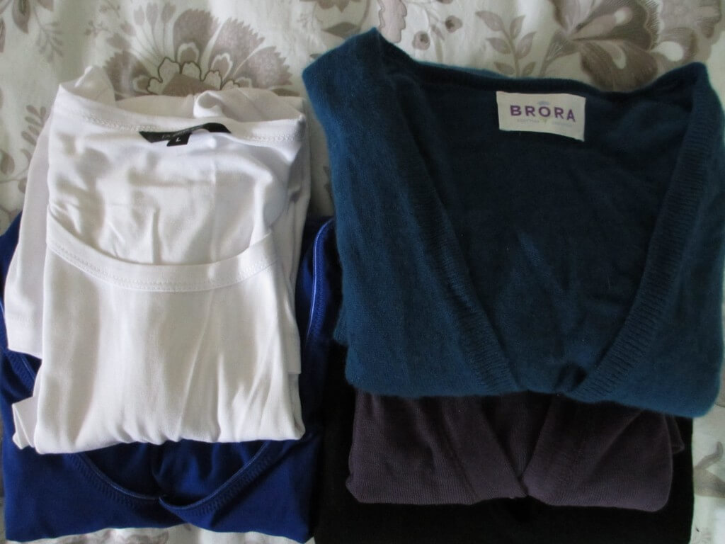 Three knits and three long sleeved tees trans seasonal packing list