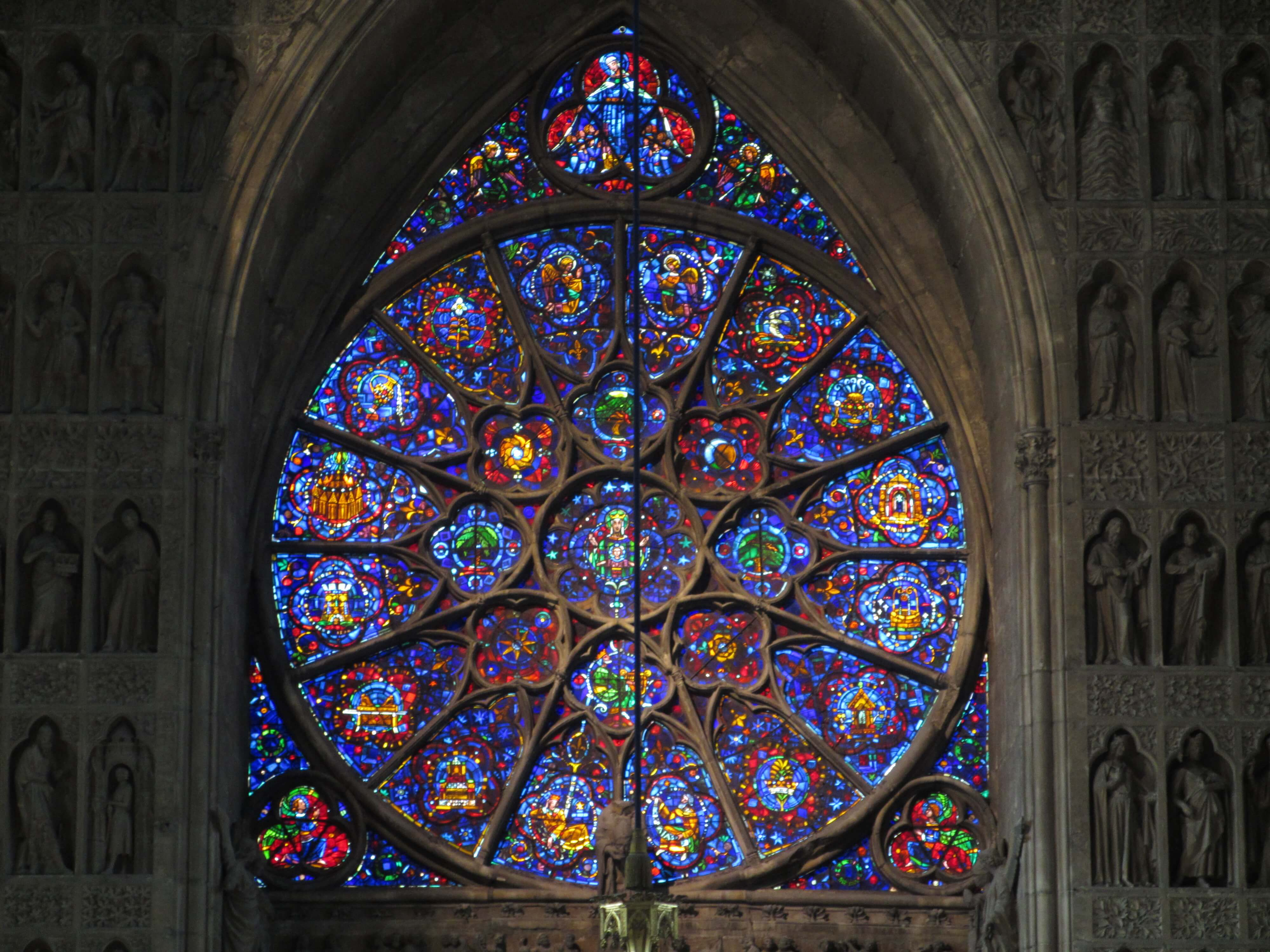 One of two rose windows, both dedicated to the Virgin Mary