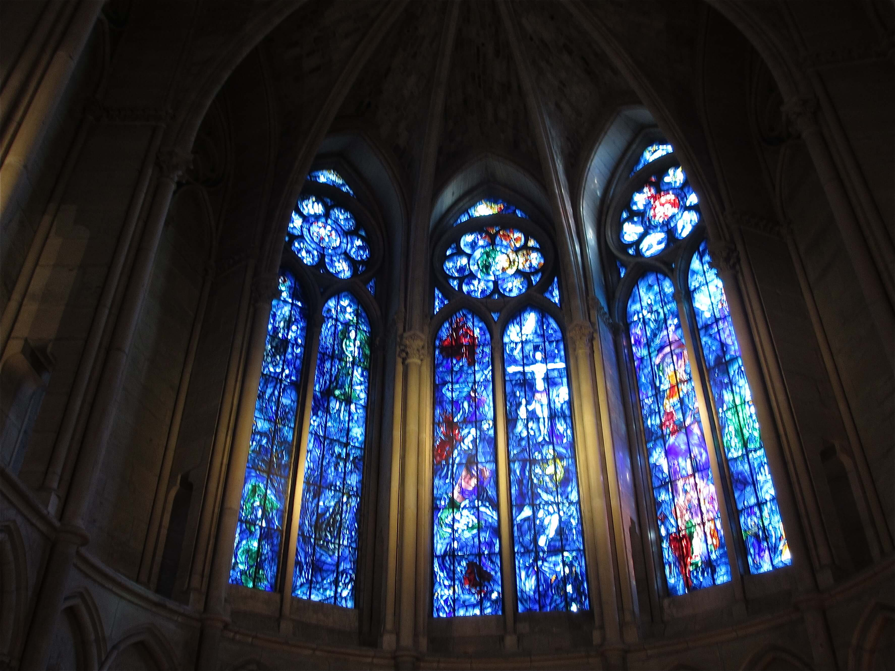 The famous Chagall windows. The left representing the Old Testament, the middle the New Testament and the right the Kings of France (the green images are Joan of Arc and Charles VII who Joan brought triumphantly to Reims for his coronation)