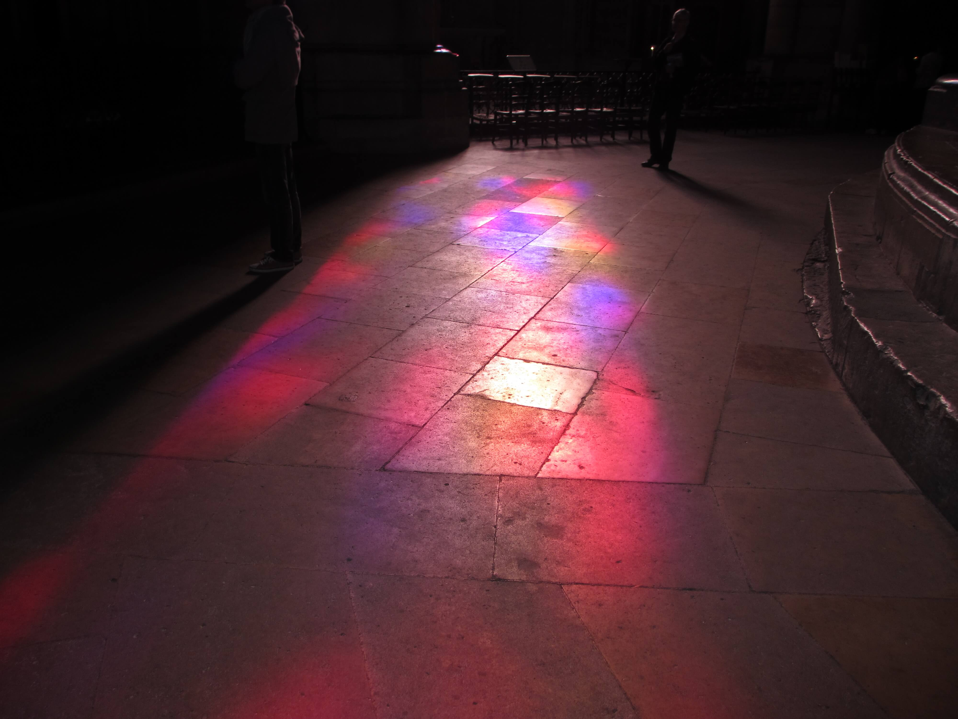 Light from the Imi Knoebel window reflecting on the floor
