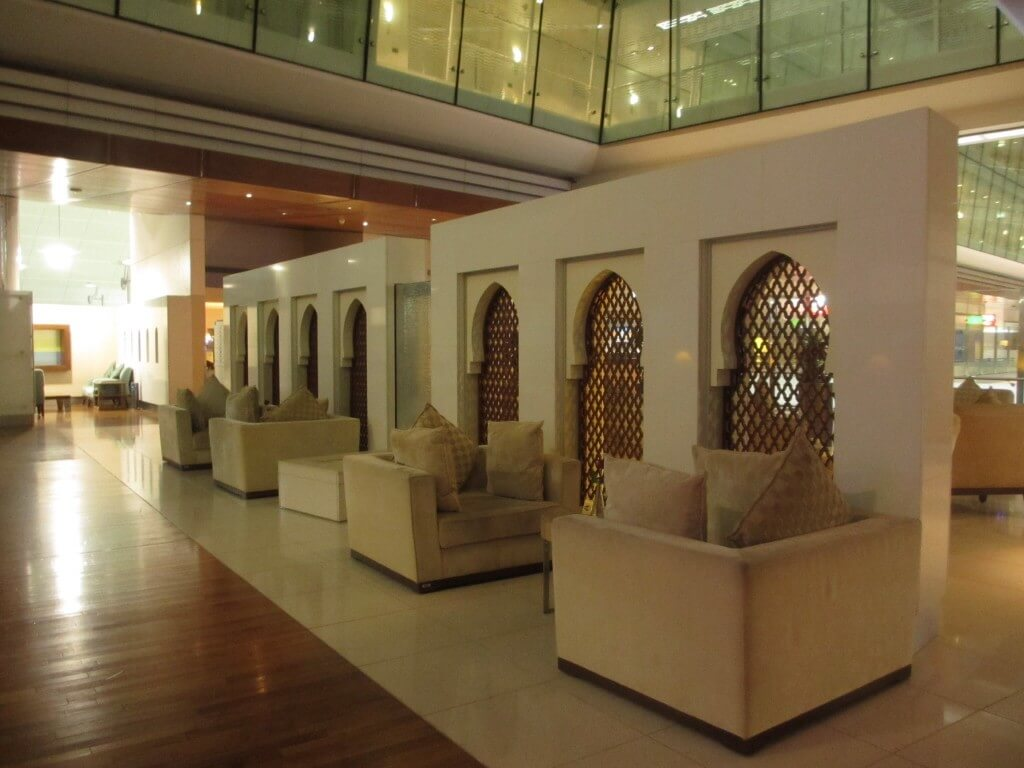 comfy chairs and space in the almost deserted Emirates first class lounge, travel, travel tips, travel planning