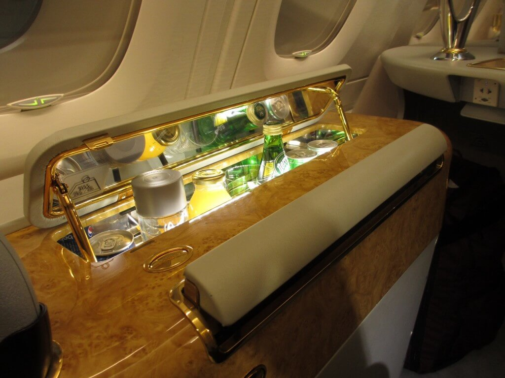 Emirates first class suite minibar, travel, travel tips, travel planning