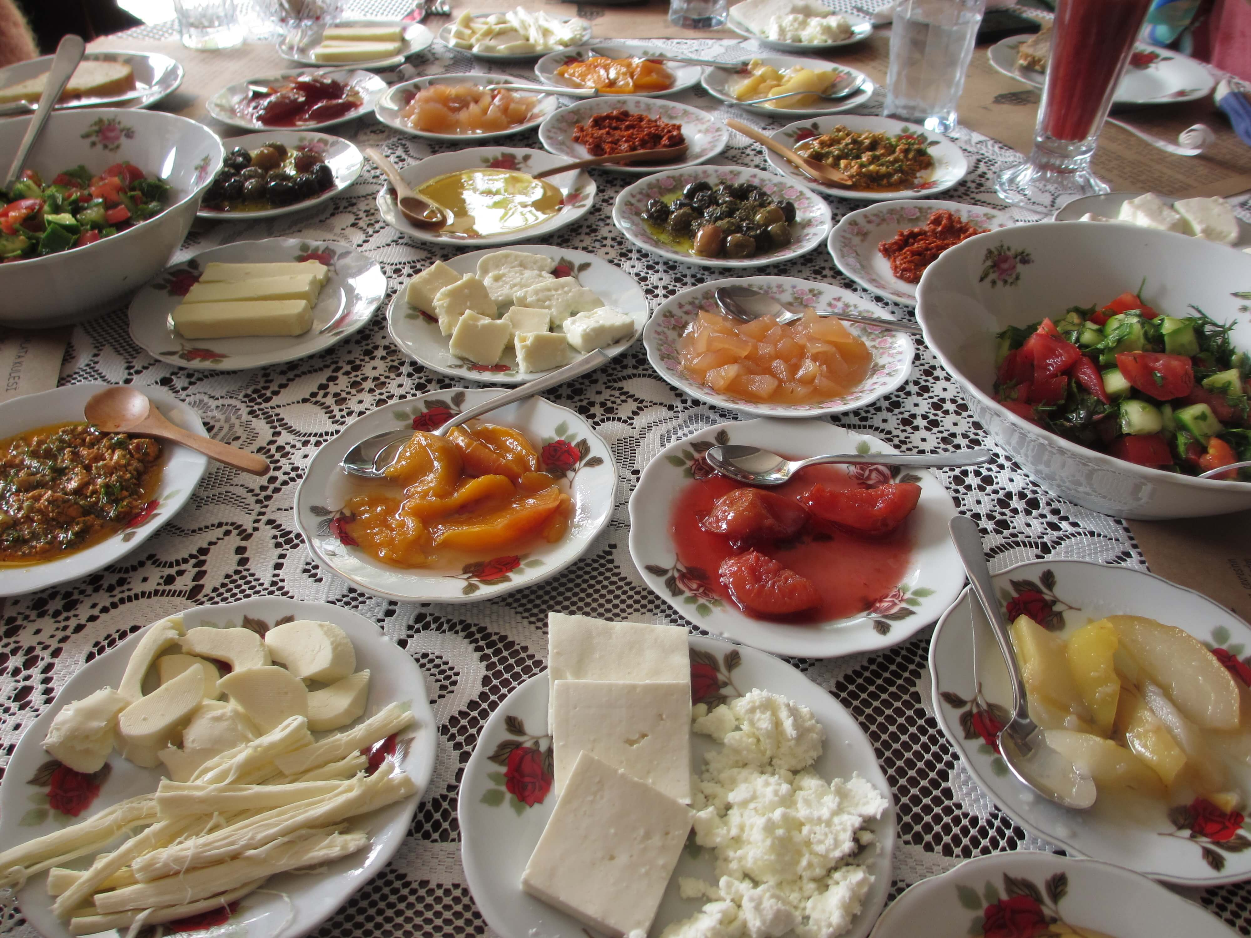 travel, travel tips, travel planning, plates of Turkish food at brunch in Istanbul