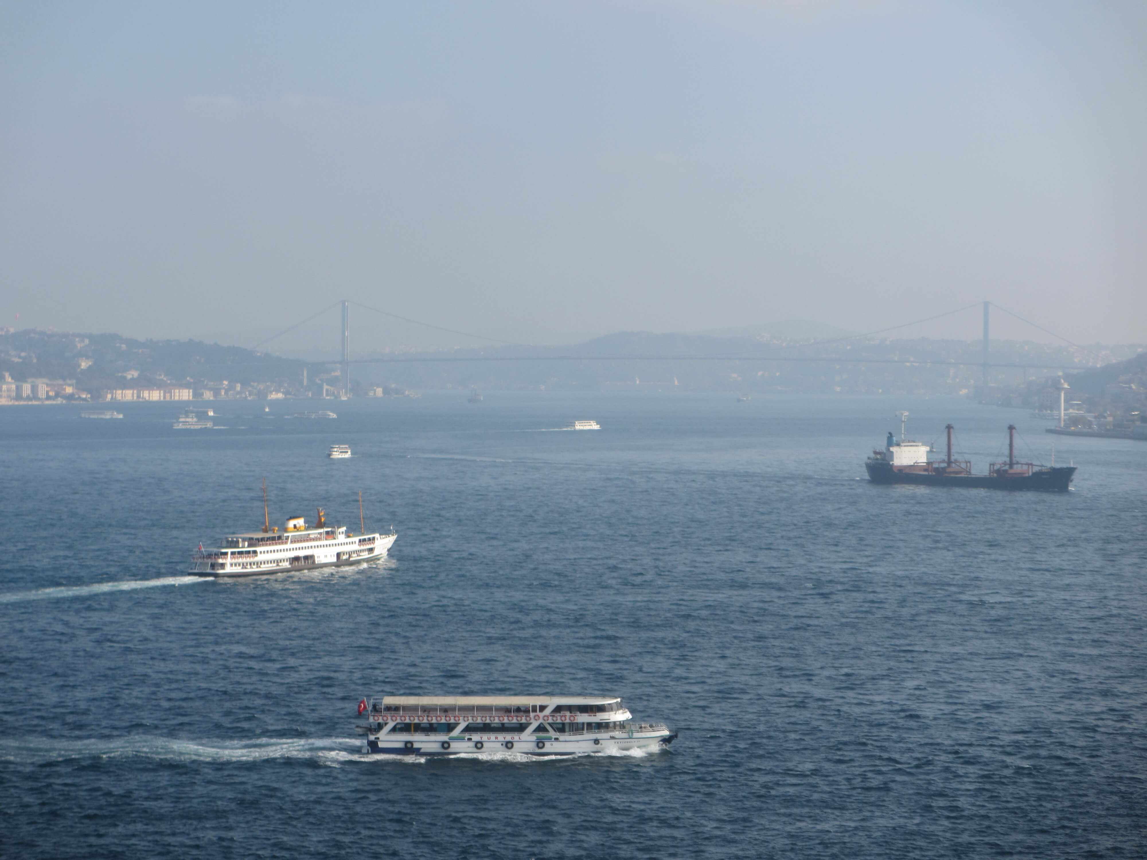 boats on the water of the Bosphorus, Istanbul