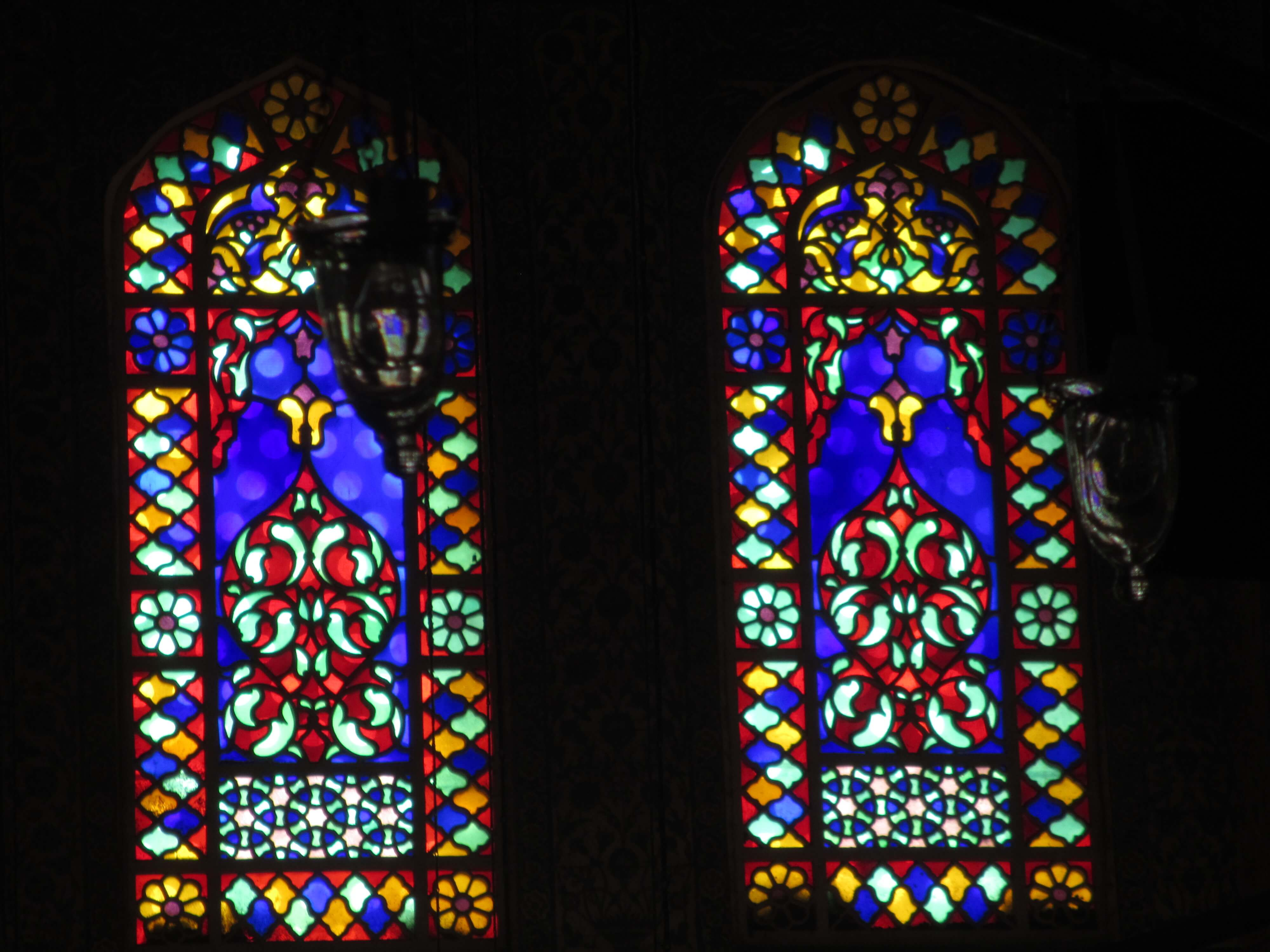 multicoloured stained glass windows