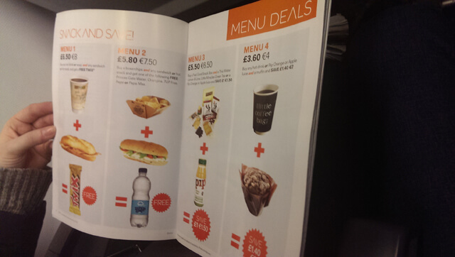 menu for easyJet showing different food and drink options