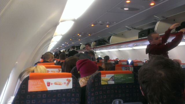 inside easyJet plane prior to take off