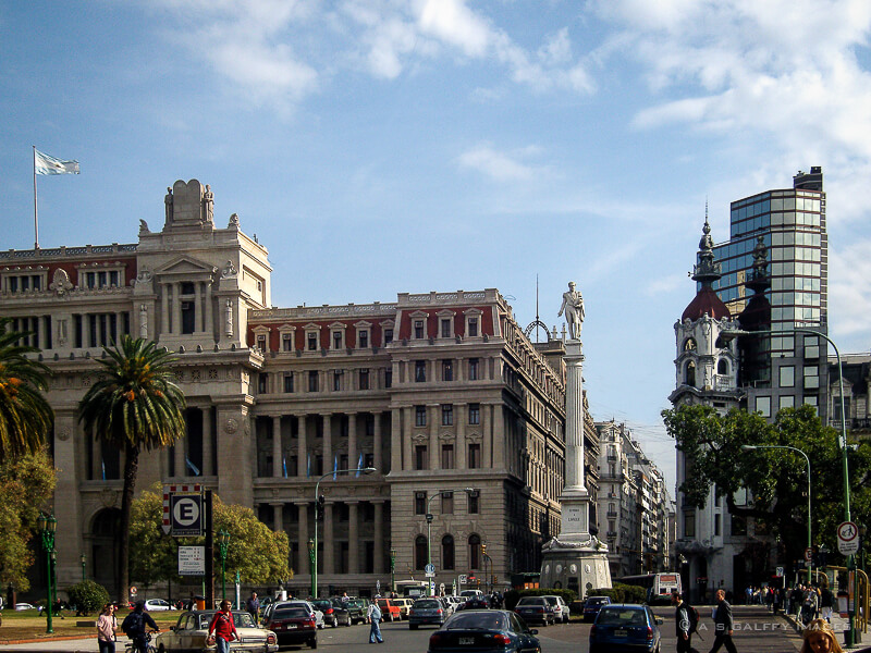 Square in Buenos Aires with a column
