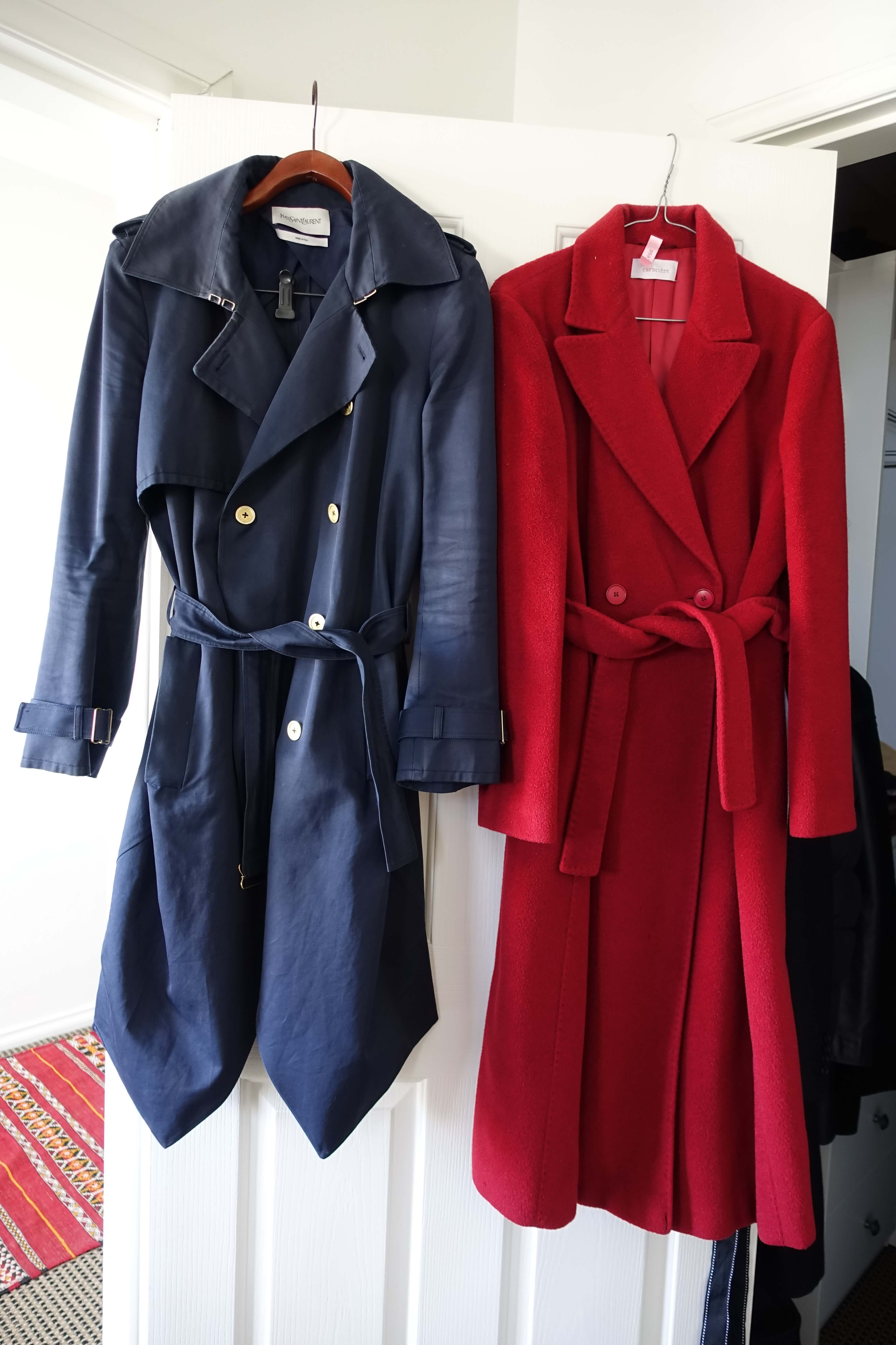 red woollen overcoat and blue YSL trench coat
