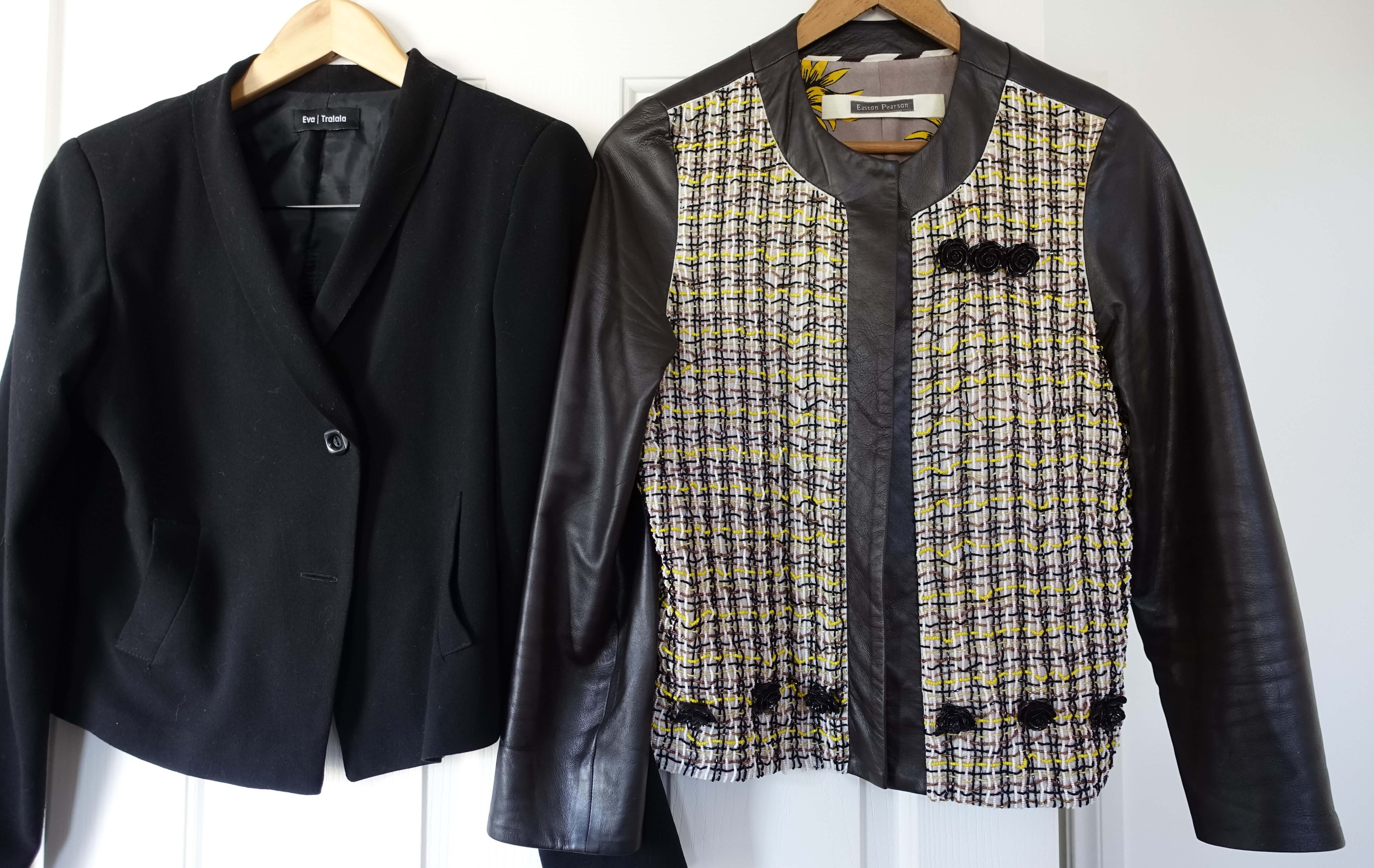 brown leather beaded Easton Pearson jacket and black cropped jacket