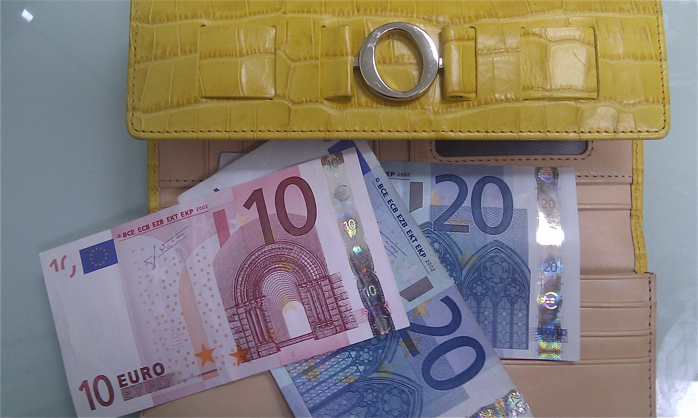 yellow Oroton wallet with Euros