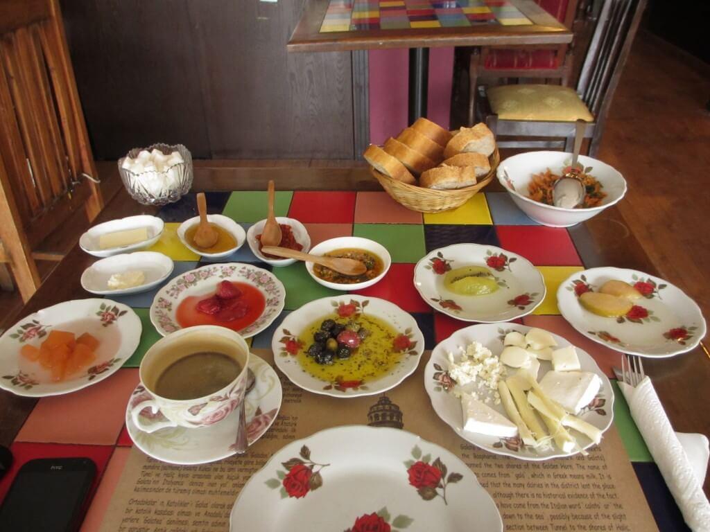 table with Turkish village breakfast