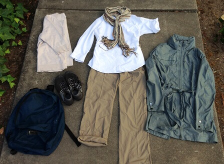 capsule wardrobe of white shirt and khaki pants