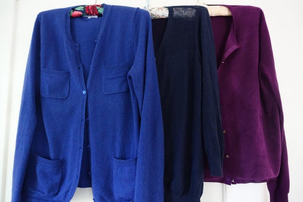 dark blue cardigan, purple cardigan and blue cashmere and silk cardigan
