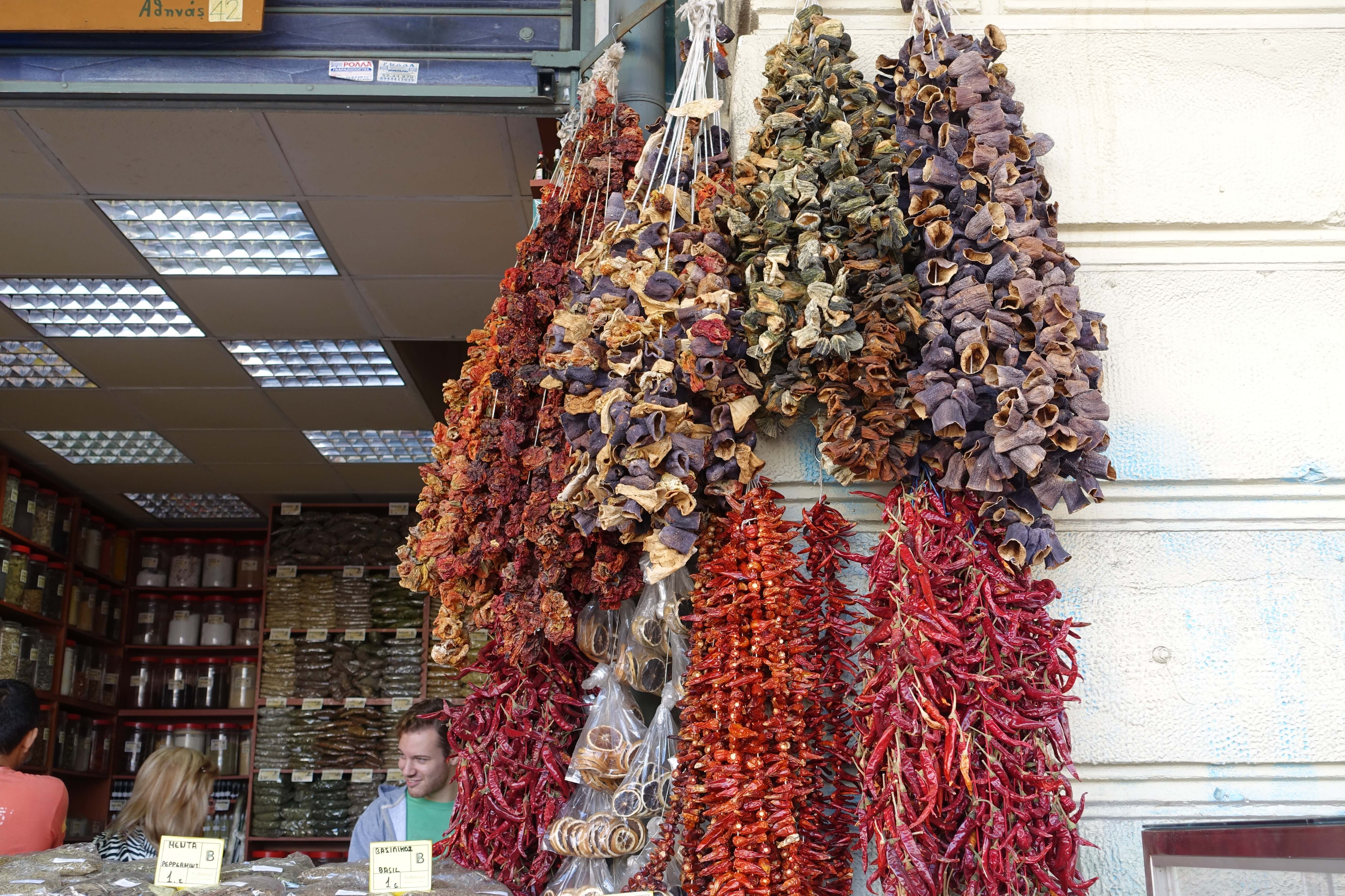 bundles of dried vegetables in a Greek market