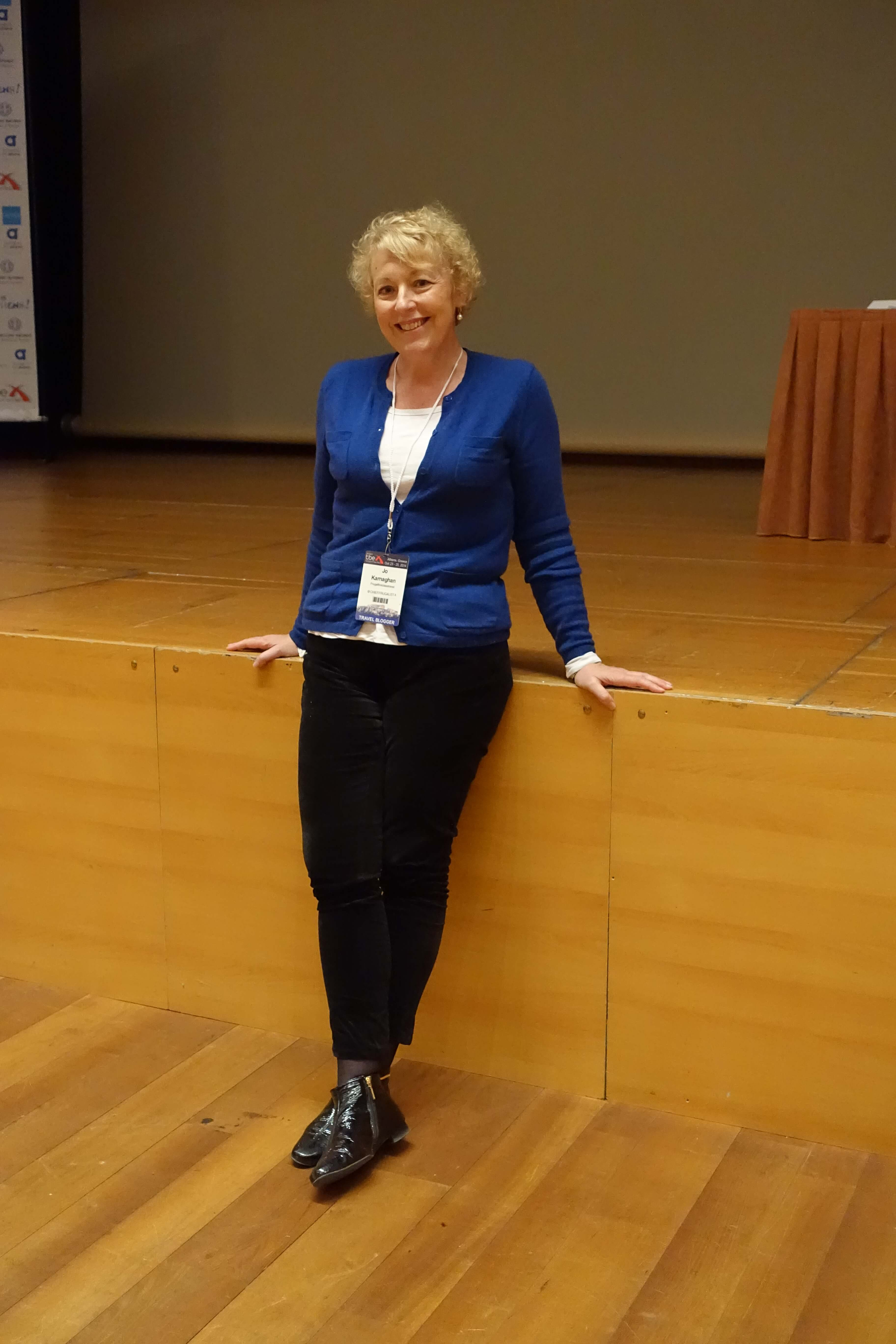 Day one at the conference - blue cardigan, long sleeved white Tshirt, black skinny pants and boots