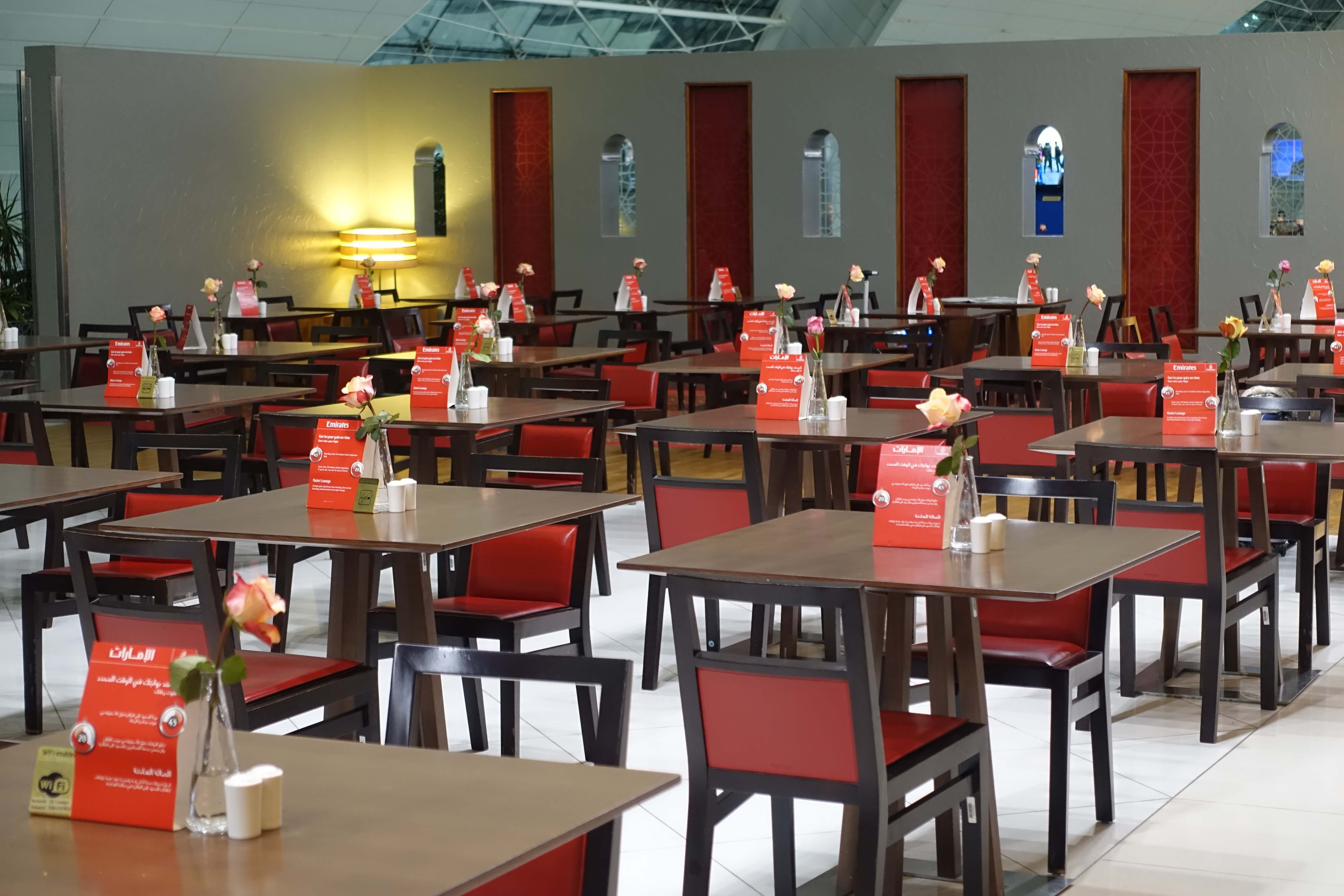 cafeteria tables and chairs, Emirates Business Class lounge
