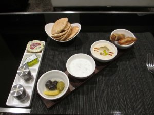 Mezze plate Etihad First Class frugal first class travel