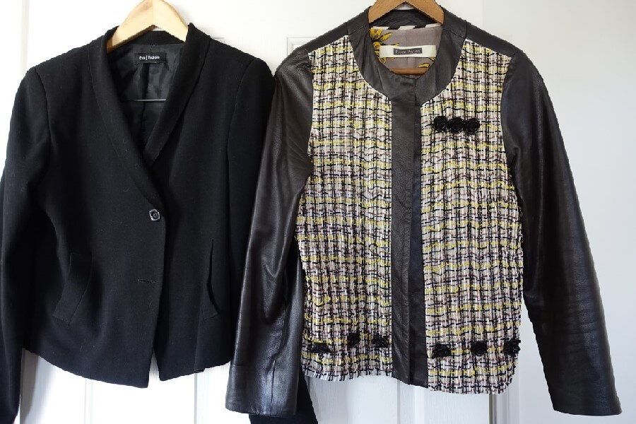 two jackets on hangers frugal first class trave