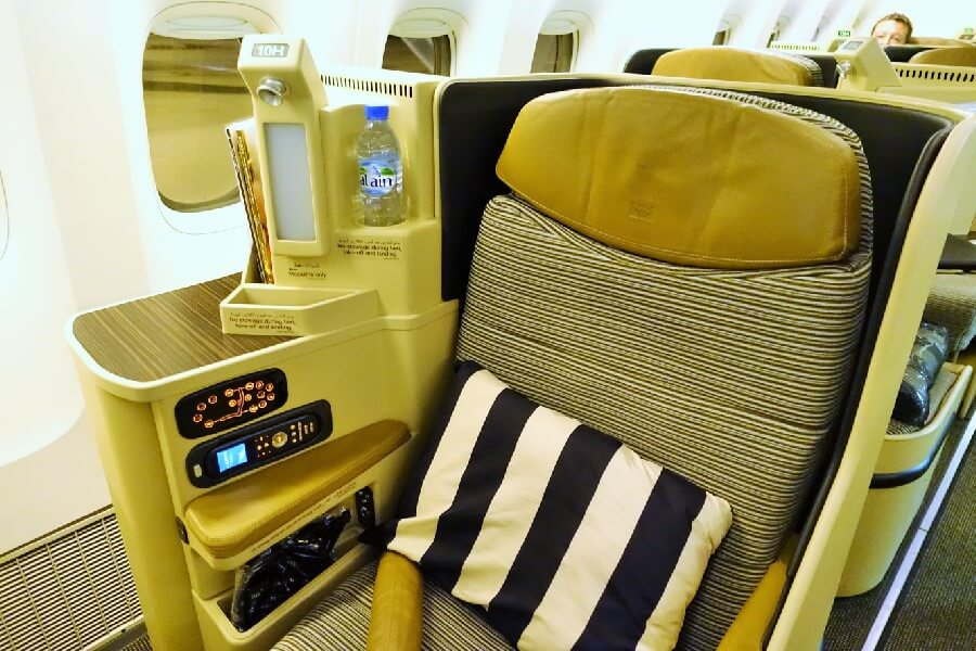Etihad Airways Business Class flight seat