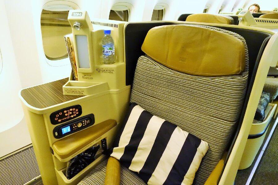 Etihad Airways Business Class flight seat