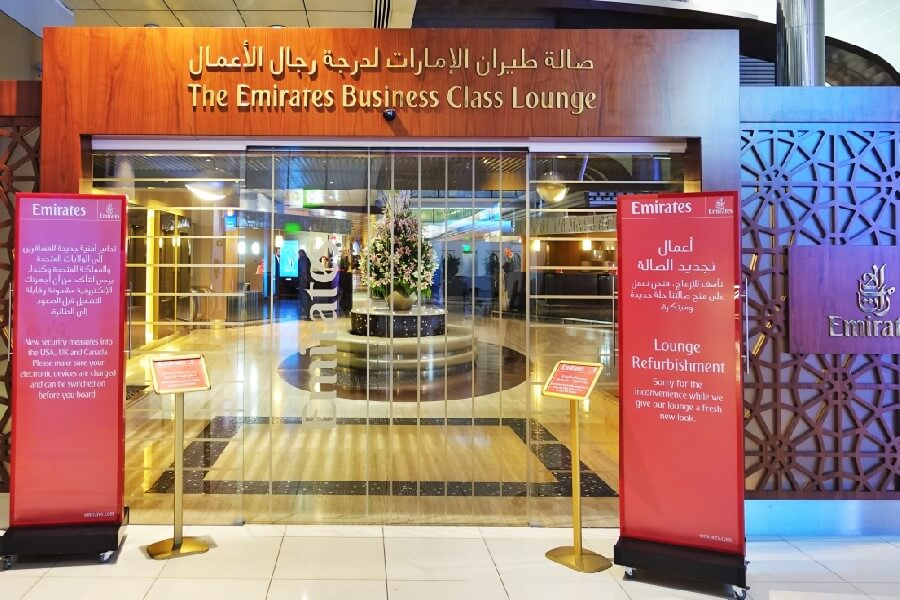 Emirates business class lounge for a Business Class flight