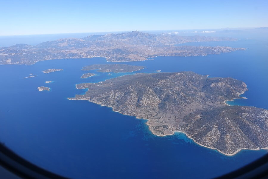 Aerial view of the Aegean Sea with islands frugal first class travel