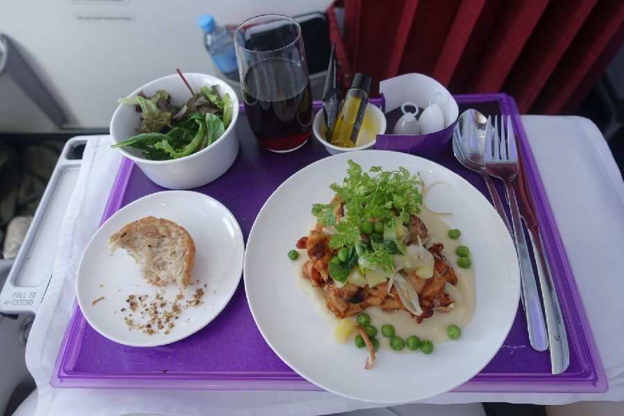 Virgin Australia International Business Class meal frugal first class travel