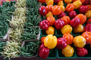beans and bell peppers at Food markets in Montreal