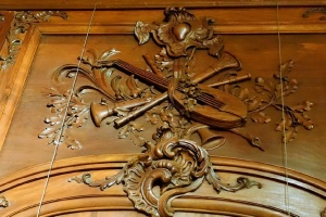 Carved wooden frieze at Chateau Ramezay a A French Chateau in Montreal