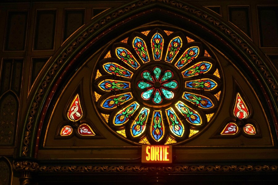 Rose window of Basilique Notre Dame Montreal