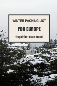 WINTER PACKING LIST Europe