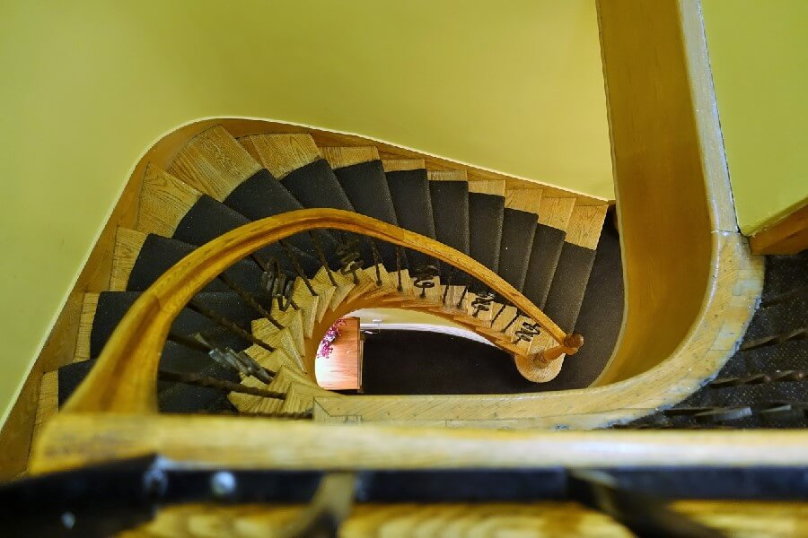wooden stair case How to choose a hotel frugal first class travel style