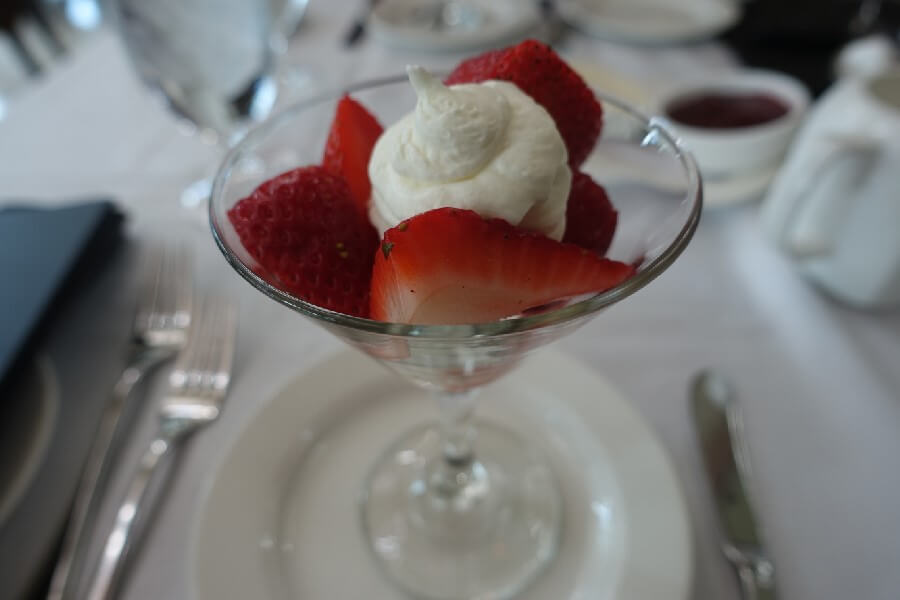 Afternoon Tea at the Fairmont Chateau Laurier, Ottawa. Strawberries marinated in Canadian ice wine with cream