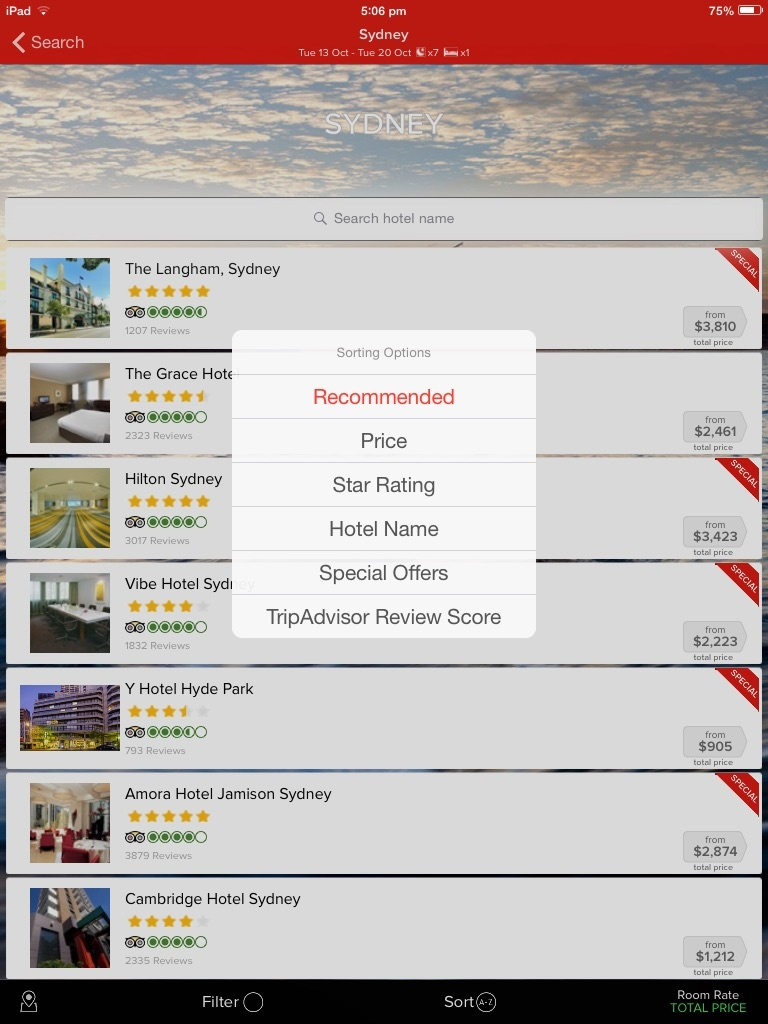 Webjet mobile app: great for booking on the move