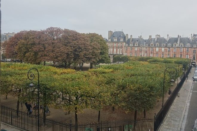 Three free museums in Paris you need to visit - view over Place des Vosges from the Victor Hugo Museum