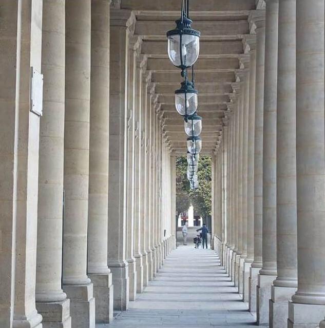 Colonnades in the Palais Royale Paris