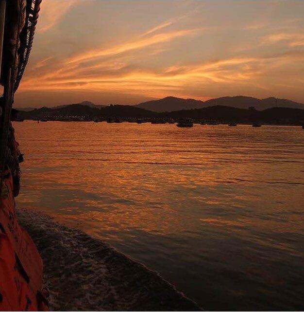 Sunset over Phang Nga Bay Phuket Thailand