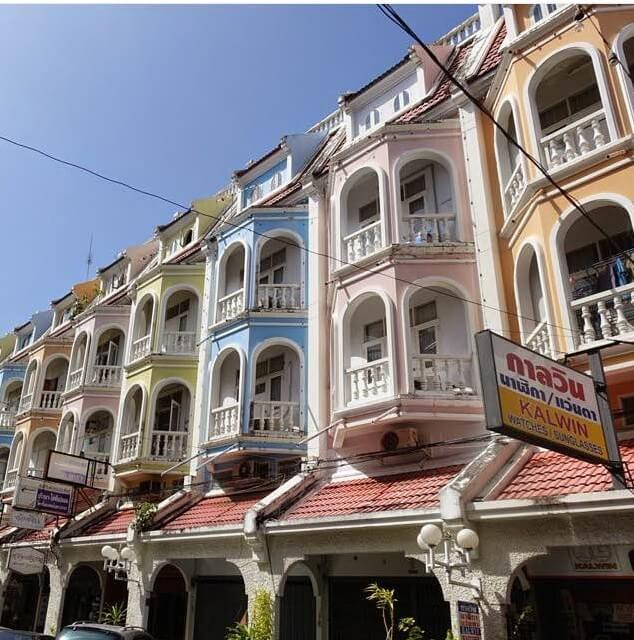 Rows of 19th century architecture, Phuket Town, Thailand