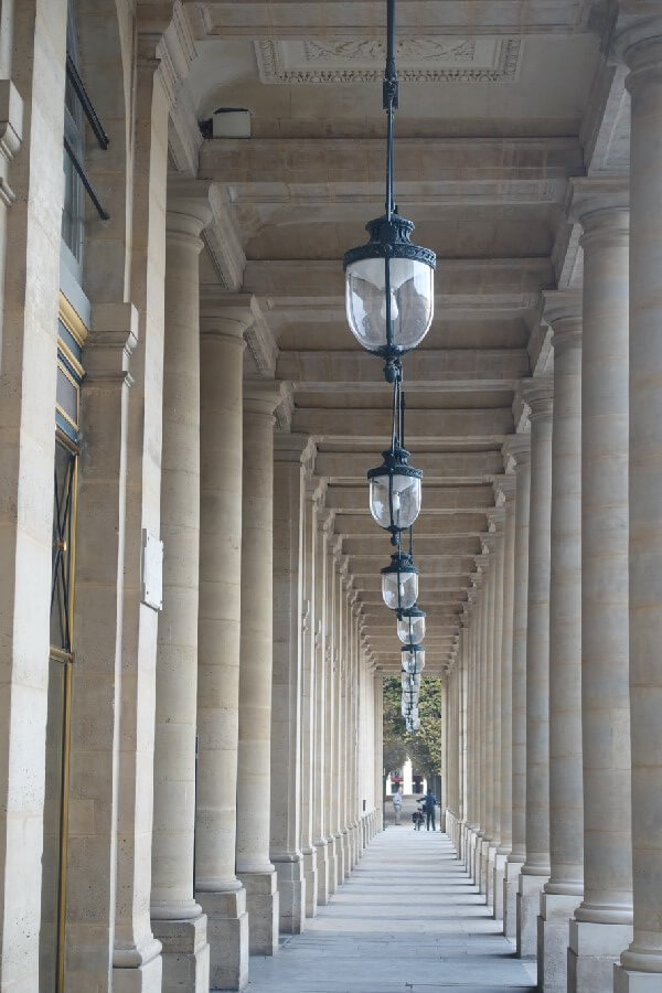 Best free things to do in Paris - colonnades of the Palais Royale