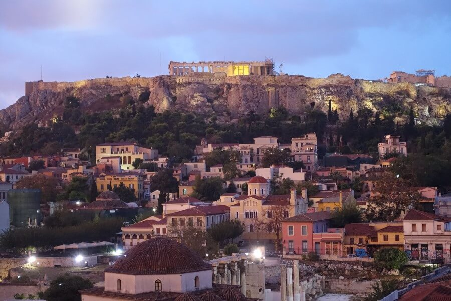 View from the terrace, A for Athens Hotel, Acropolis, The best frugal first class hotels in Europe