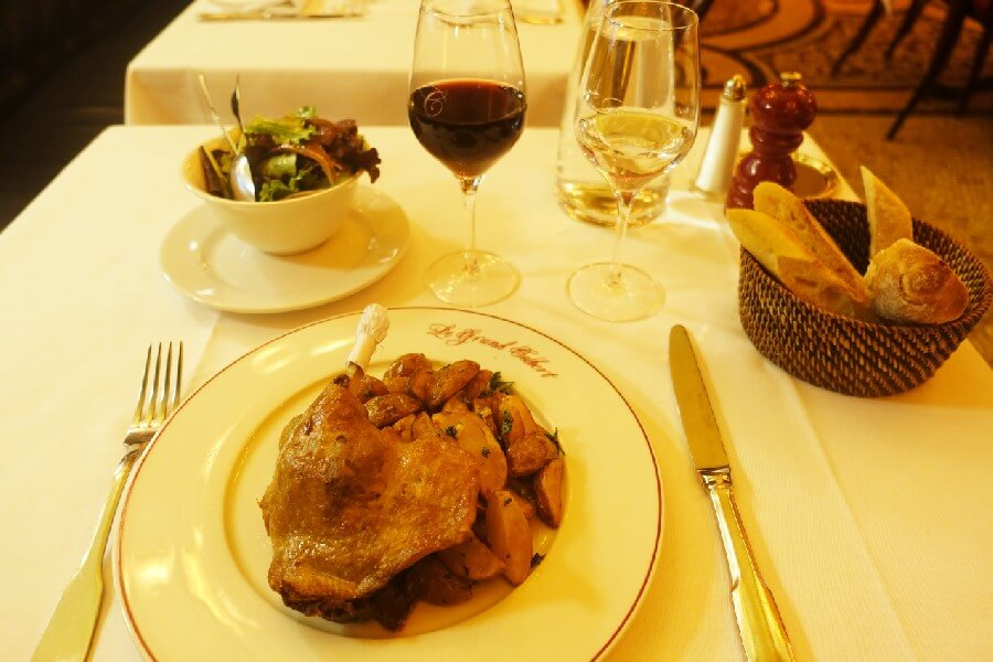 Duck confit at Le Grand Colbert Paris Best brasserie foods in Paris