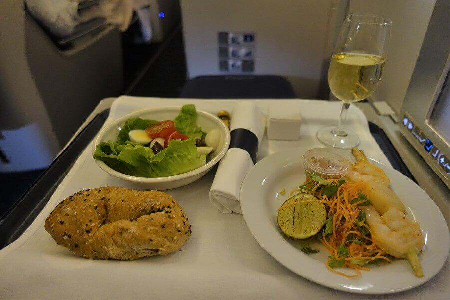 British Airways Business Class review British Airways Club World meal