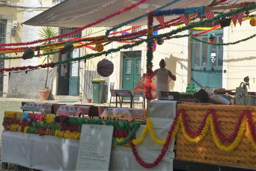Restaurant in Lisbon preparing for festival of St Antonio Exploring the Alfama: a fishing village in Lisbon