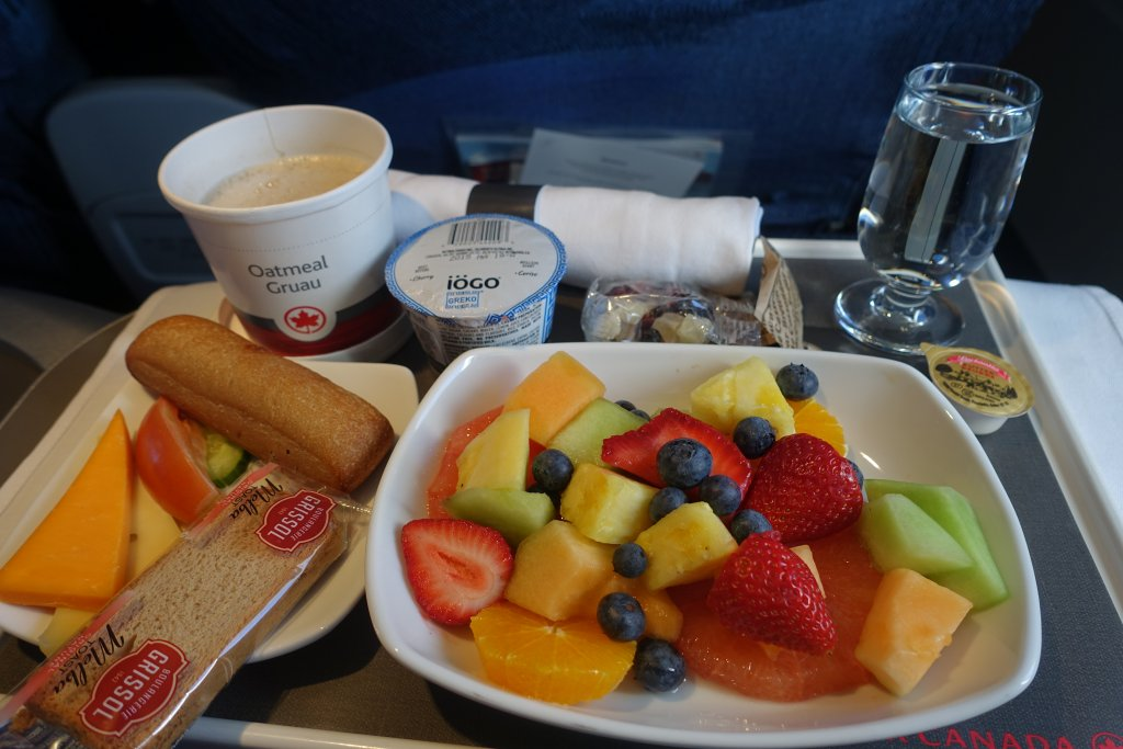 Fruit salad meal on Air Canada Business Class Around the world in 10 airline meals