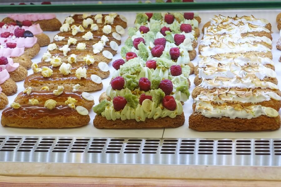 Eclairs in the Time Out Food Court Lisbon Portugal Best things to do in Lisbon in 48 hours